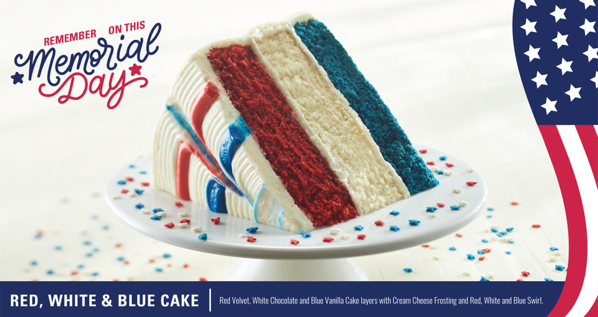 Red, white and blue layer Cake for Memorial Day - Ship, deliver or pick-up