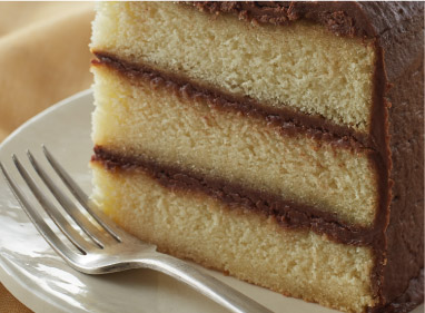 Yellow layer cake with chocolate