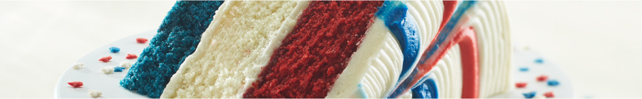 Privacy Policy - Piece of Cake - red, white and blue cake